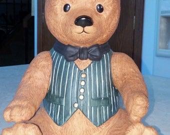 "Teddy Bear Musical Ceramic Wind Up Music Box Bear 1983 Dept 56 Plays ""Favorite Things"" Ceramic Bear"