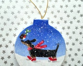Dachshund Christmas Papier Mâché Decoration - Sausage Dog - Doxie - Wiener