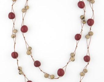 Acai Seed Necklace / Red & Grey Necklace / Long Necklace / Acai Seed Jewelry / Seed Jewelry / Fair Trade / Long Layering Necklace
