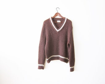 Mohair Sweater / Grunge Sweater / Brown Mohair Knit Oversized V Neck Sweater / Pullover / 60s Sweater / Preppy
