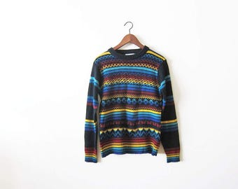 Rainbow Sweater / Vintage Rainbow Stripe Sweater / 70s Knit Sweater / Pullover / Crewneck / Aztec Sweater Small