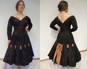 Evening Cocktail Dress 1950s, 'Perullo, David Hart Inc.', Fabulous Large Deep Flounce with Bow in Back LBD