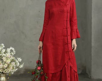 Maxi Red Dress, Red Linen Dress, Maxi Dress In Red, Princess Sleeve Dress, Ruffle Dress, Flax Dress, Cocktail Dress, Wedding Dress