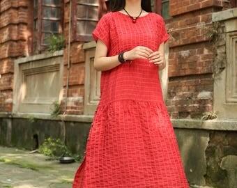 red linen dress, linen kaftan dress, loose fitting dress, oversized linen dress, long linen dress, red shirt dress, plus size