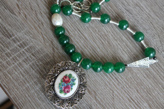 Necklace, JADE ROSE needle point vintage assemblage, Silver filigree, Pearls, Upcycled, repurposed vintage inspired OOAK by AnnaGraceDreams
