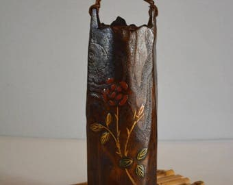Flower vase, solid wood with copper insert and bamboo stand,  ikebana vase
