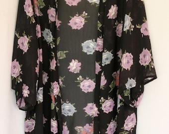 New Collection!  Sheer Floral Free Size Kimono Jacket, Holiday Kimono, Plus Size Kimono