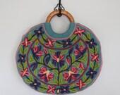 r e s e r v e d please do not buy / vintage 1970s crewel embroidered handbag