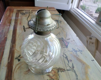 Vintage Molded Glass Hurricane Lamp, Old Glass, Vintage Lamps, Oil Lamps