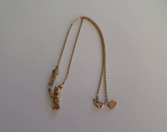 Vintage Park Lane Necklace Girl with Kite gold tone Tween Girl Gift 1970s Jewelry