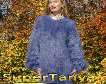 SUPERTANYA handmade mohair sweater dress in denim blue by SuperTanya ON SALE