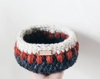 Small Basket, Home decor,  Baby storage - Crochet basket - Produce bowl, Decorative storage, Multi-color basket