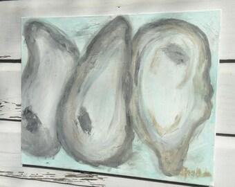 Oyster Shells Painting/Coastal Theme Original Painting/Abstract Oyster Art/Oyster Original Art Painting/Beach House Art