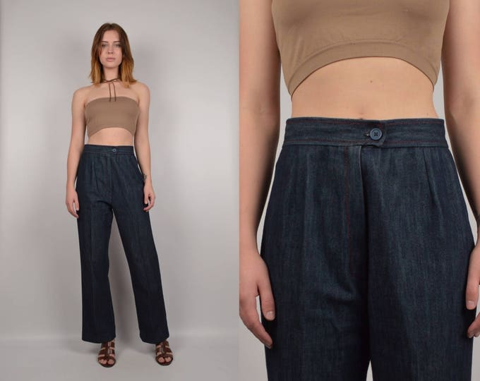 70's High Waist Denim Trousers vintage jeans