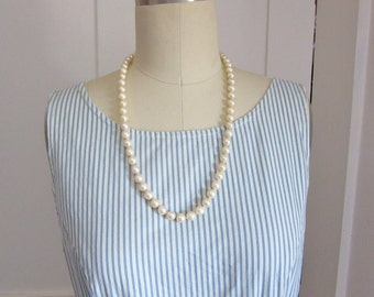 "Akoya Cultured Pearl Necklace - 14K White Gold - 9mm Pearls - 24"" - 63 Pearls - 60s Vintage"