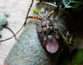 Love Goddess - Rose Quartz Necklace. Handcrafted Clay & Gemstone Pendant. Awakened Goddess Necklace.