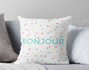 Paris Pillow -Bonjour pillow - Confetti pillow