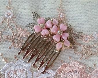 BLUSH PINK VINTAGE Bridal Flower Girl Hair Comb Dainty Flowers Silver Leaves Rhinestones Bride Bridesmaids Hair Accessories Art Nouveau