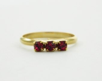 Ruby Three Stone Midi Ring