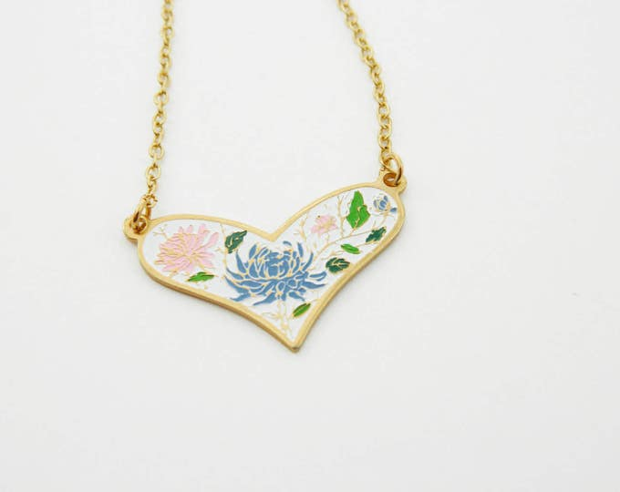 Featured listing image: White Enamel Heart Necklace - Blue and Pink Dhalia