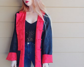 Reversible Satin Red and Black Mandarin Chinese Chungsam Embroidered Kimono Jacket // Women's size Large L