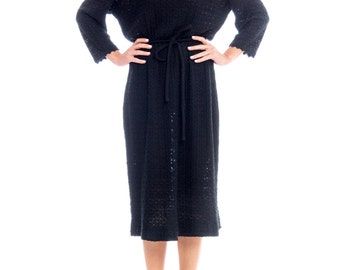 1950s Black Crocheted Dress Size: M