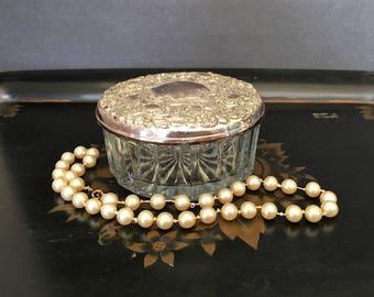 Vintage Silver Crystal Jewelry Box Powder Jar with Lid and Mirror Art Nouveau Trinket Box Vanity Display Keepsake Jar