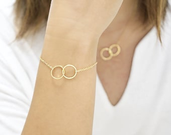 Double Ring Bracelet / Necklace, Gold / Silver / Pink Gold, Interlinked Duo Round Circle Hoop, Wedding Bridesmaid Sister Girlfriend Gift, gj