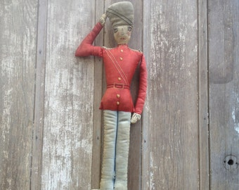 1930s Folk Art Toy Soldier Rag Doll Handmade Embroidered Holiday Decor