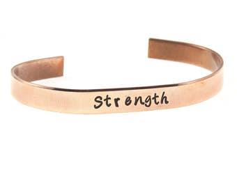 STRENGTH Cuff Bracelet - Personalized in Copper Aluminum or Nu Gold