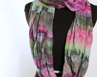 "Ice Dyed Tie Dyed Rayon Circular  Infinity Scarf, Shades Of Purple and Green, Spiral Design, 77"" around by 21"" wide, Made To Order"