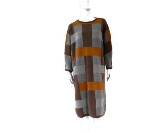 1980s Marimekko Oversized Colorblock Sweater Dress Knit Wool Tunic Sweater sz L Made by Terene Finland