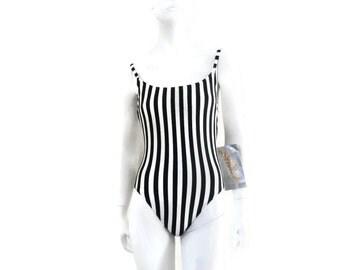 DeWeese Swimsuit 1 pc Black & White Striped Bathing Suit Vintage Swimwear Old Store Dead Stock sz 14 #163