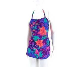 Vintage One Pc Bathing Suit Elizabeth Stewart Tropical Neon Flowers Sarong Style Sheath  Swimsuit Old Store Dead Stock sz 12 #217