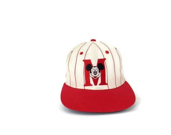Vintage Mickey Mouse Baseball Cap Red Striped with Embroidered Patch  Snap Back Hat by Goofy's Hat Company