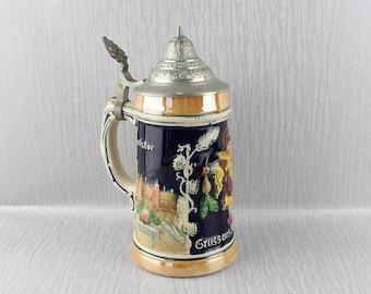 Souvenir Vintage Beer Stein Ceramic Tankard with Metal Flip Top Lid