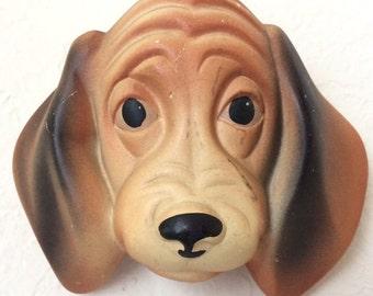 SALE!!!-Mid Century Chalk Ware Dachshund, Miller Studio Beagle Face Date 1961