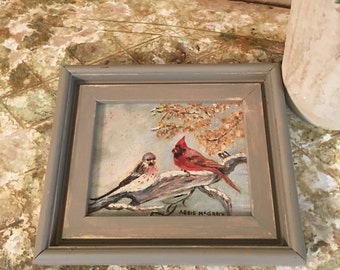 Sweet Nature Winter Bird Painting