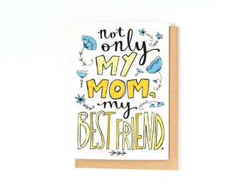 Mother's Day Card - Love You Mom - Mom Birthday Card - Thank You Mom Card - Card For Mom - Thanks Mom - Flower Illustrations