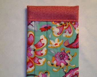 Teal and Pink Floral Glasses Case