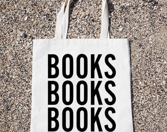 Books Books Books Tote Bag Gift For Reader Funny Canvas Bag, Canvas Tote Bag, Shopping Bag, Grocery Bag, Funny Reusable Cotton Bag