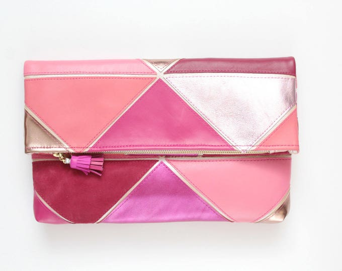 Large leather bag. Fold over clutch. Geometric purse. Statement bag. Oversized purse. Metallic natural leather. Pink handbag. /PRISM 25