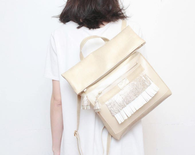 Leather backpack-natural and vegan leather bag-metallic leather backpack-beige nude gold-with pockets and ajustable straps / MAYA 8