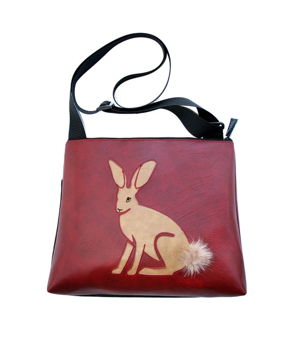 Jackrabbit, tan vinyl, dark red vinyl, fake fur, vegan, vegan leather, large, cross body bag