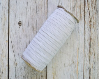 "White 1/4"" Skinny elastic, thin elastic, 5 yards or 10 yards - Elastic by the yard - DIY Headbands, foe elastic, supply"