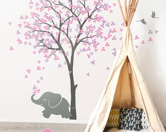 """Large Tree Wall Decals Tree Wall Sticker Elephant Decal Decor Tree Wall Art Mural Decoration - Large: approx 83"""" x 53"""" - KC033"""