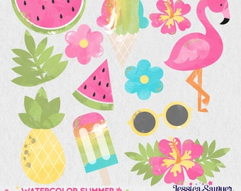 INSTANT DOWNLOAD - Watercolor Summer Clipart