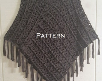 Crochet PATTERN Poncho with Fringe Quick Cable Poncho Women's