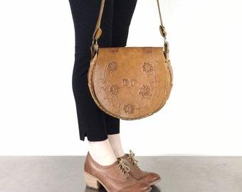 Saddle Bag Vintage Tooled Leather Purse