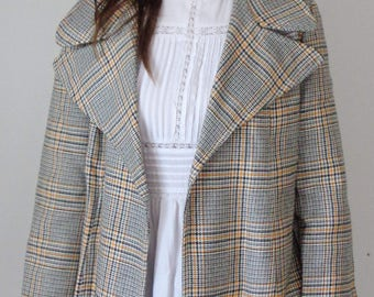 Vtg 70s Black & Yellow PLAID WRAP TRENCH with Oversized Collar! Medium to Large